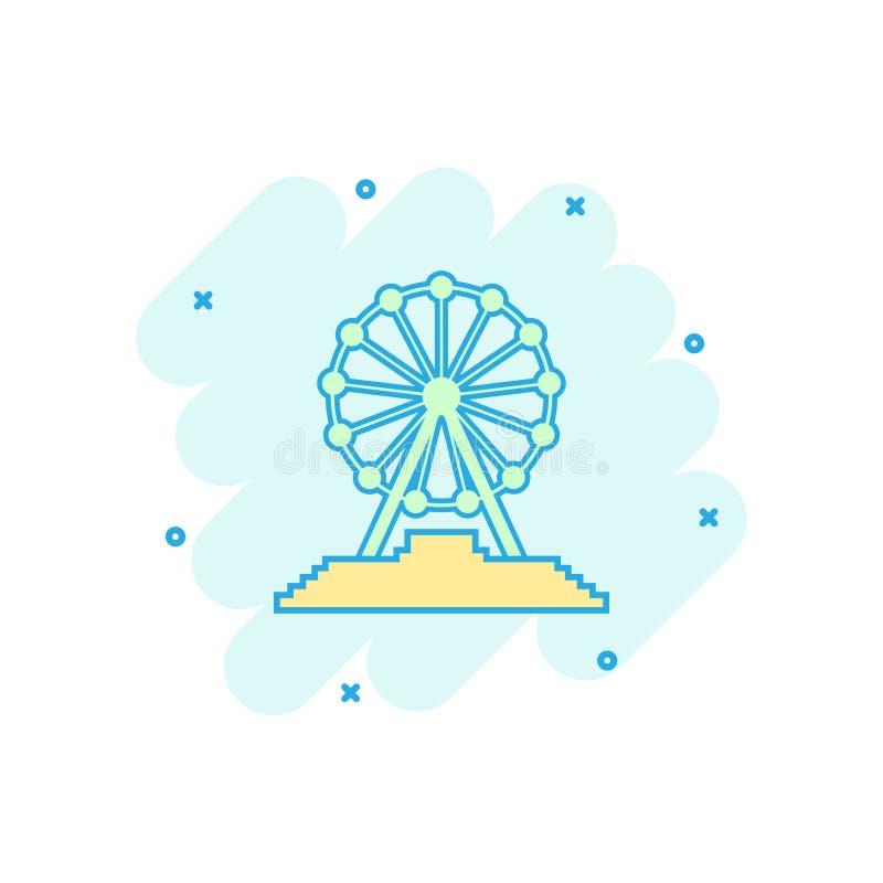 Vector het wielpictogram van beeldverhaalferris in grappige stijl Carrousel in pari vector illustratie
