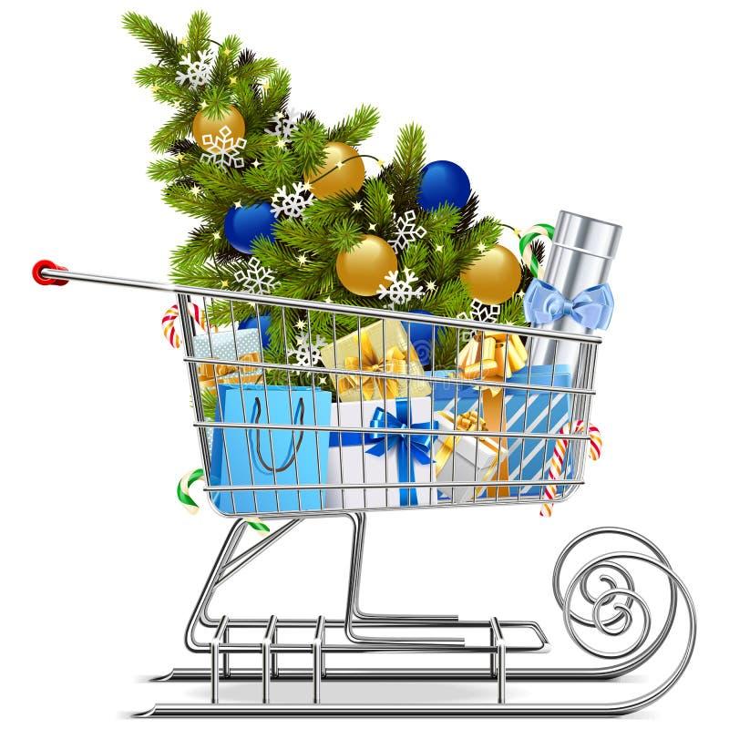 Vector het Winkelen Slee met Kerstmisdecoratie vector illustratie