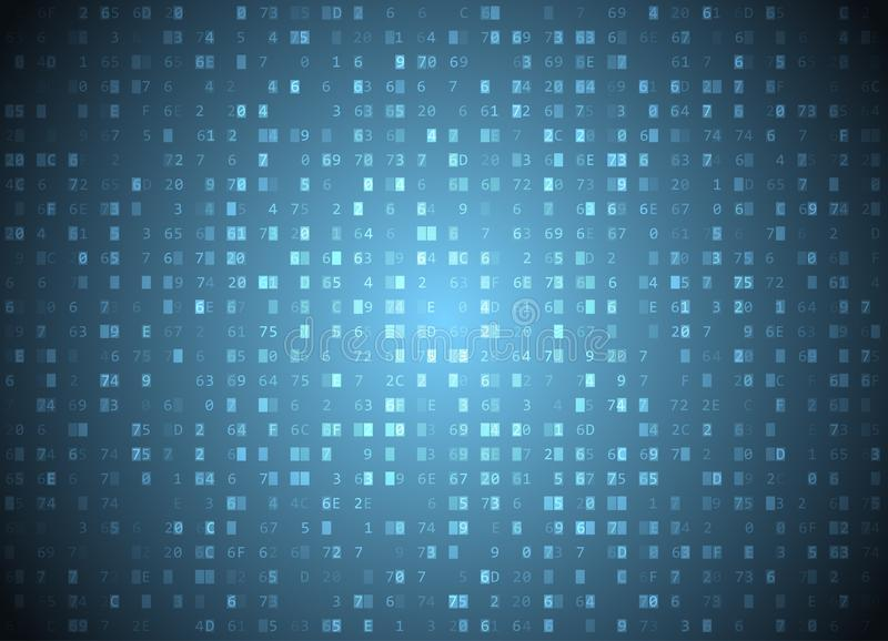 Vector hexadecimal code blue background. Big data and programming hacking, deep decryption and encryption, computer streaming byte vector illustration