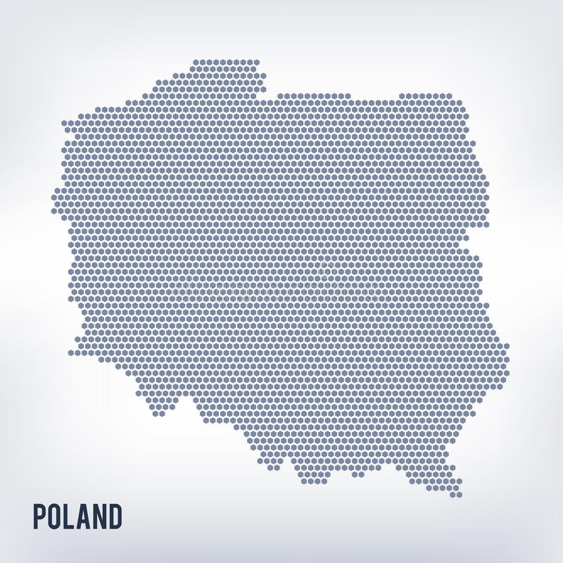 Vector hexagon map of Poland on a gray background stock illustration