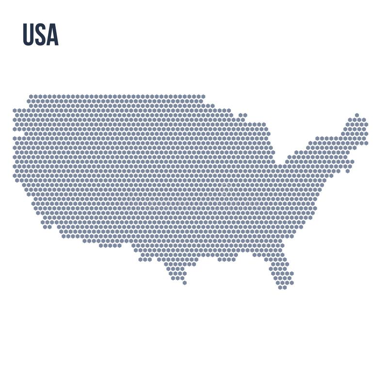 Vector hexagon map of the United States of America isolated on white background stock illustration