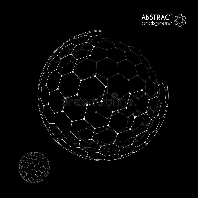 Vector hexagonal grid broken sphere planet model on black background. Vector hexagonal grid broken sphere planet model isolated on black background stock illustration
