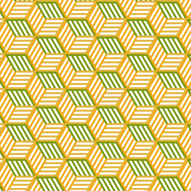 Vector Hexagonal Triangle Shape Pattern In Yellow and green Color Background. Seamless pattern royalty free illustration