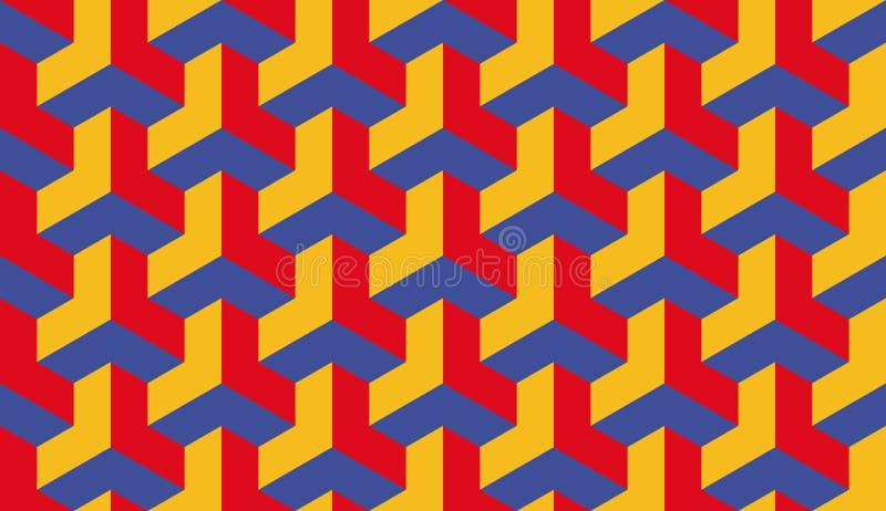 Vector hexagonal trilátero azul del bauhaus inconsútil y amarillo rojo del modelo del arte de Op. Sys. libre illustration