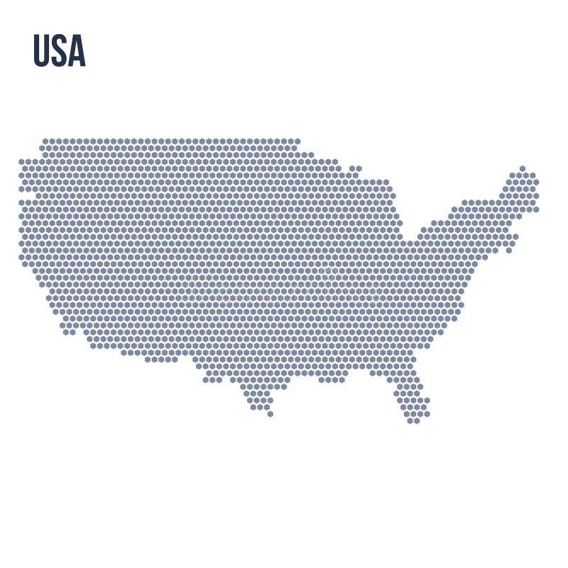 Vector Hexagonkarte der Vereinigten Staaten von Amerika, die auf weißem Hintergrund lokalisiert werden stock abbildung