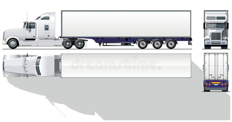 Download Vector Hi-detailed Commercial Semi-truck Stock Vector - Illustration of graphic, back: 22927147