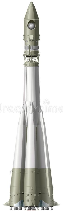 Vector hi-detailed space rocket royalty free illustration