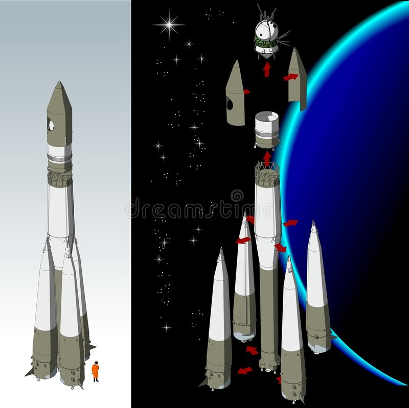 Vector hi-detailed space rocket. R7 with spaceship Vostok. Available ai-10 format separated by groups for easy edit stock illustration
