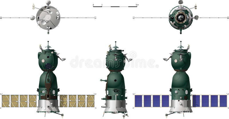 Vector hi-detailed spaceship. Soyuz TMA. Available ai-10 format separated by groups for easy edit stock illustration