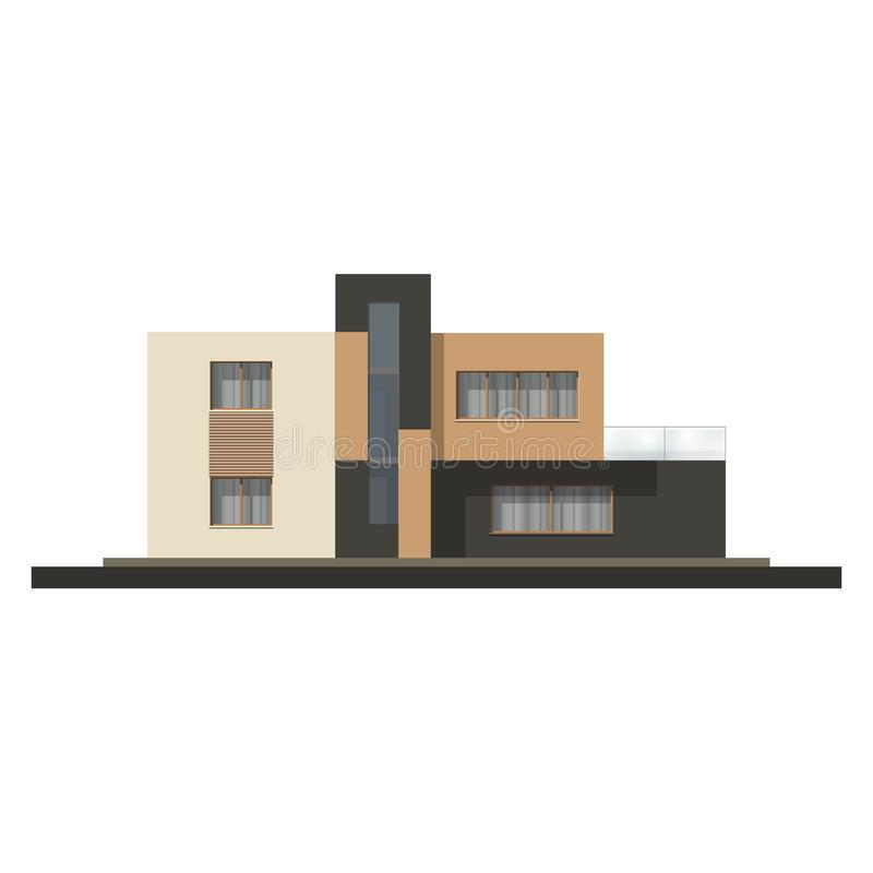Vector Hi Tech House Facade House In Minimalist Style Stock Vector Illustration Of Mansion Industry 100061140