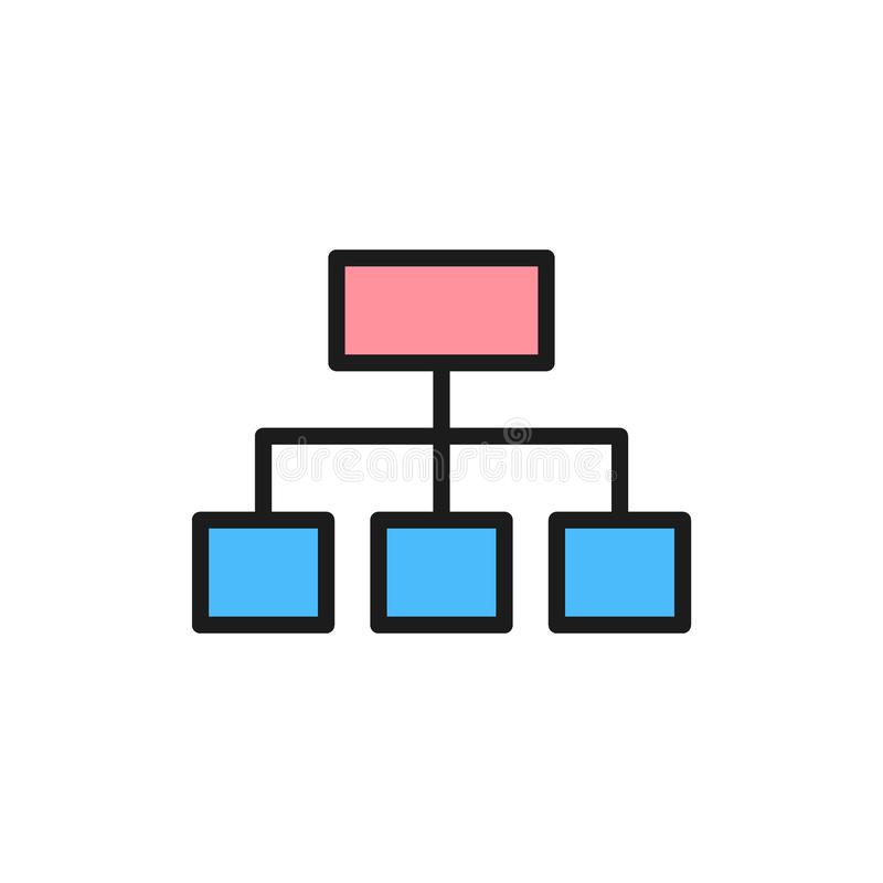 Vector hierarchical graph structure flat color icon. royalty free illustration