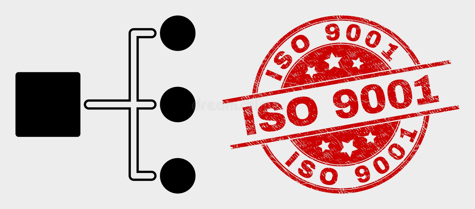 Vector Hierarchy Icon and Distress ISO 9001 Stamp vector illustration