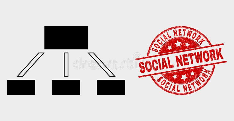 Vector Hierarchy Icon and Grunge Social Network Stamp Seal royalty free illustration