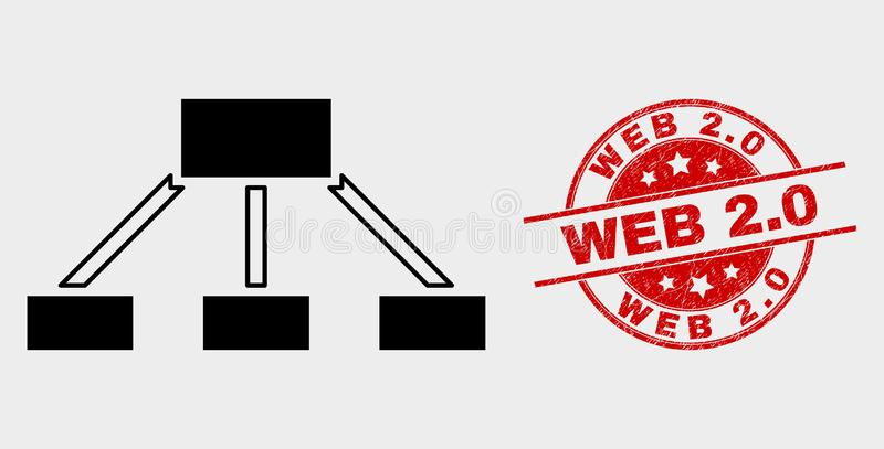 Vector Hierarchy Links Icon and Distress Web 2.0 Seal. Vector hierarchy links icon and Web 2.0 seal stamp. Red rounded scratched seal stamp with Web 2.0 caption royalty free illustration