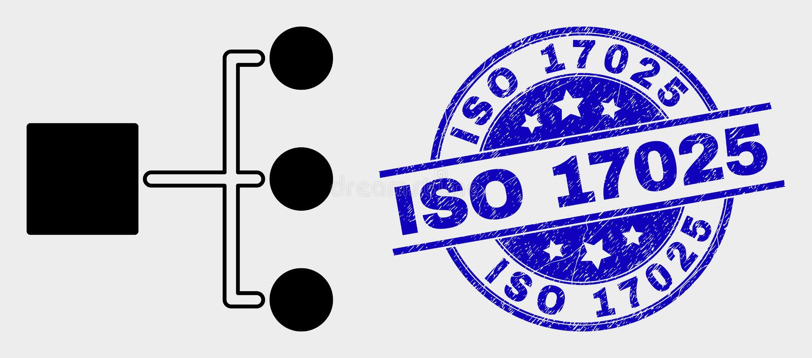 Vector Hierarchy Icon and Grunge ISO 17025 Stamp Seal vector illustration