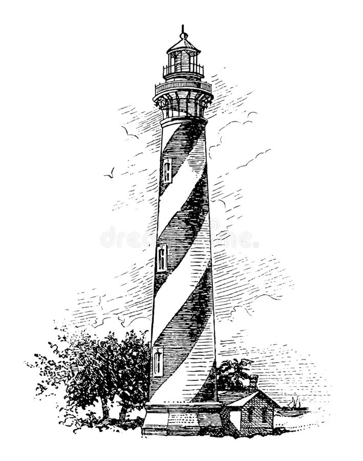 Vector High Detail Vintage Lighthouse Engraving. Full Vector illustration Illustration of a High Detail Vintage Lighthouse Engraving royalty free illustration
