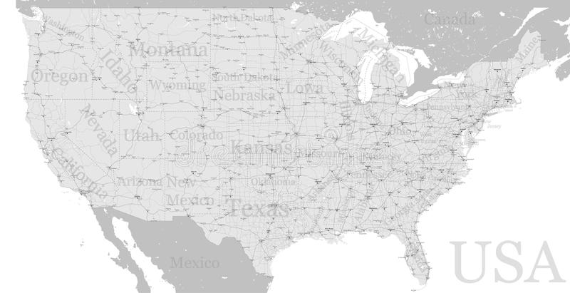Vector High detailed accurate exact United States of America ame. Rican road motorway map with city labeling. Geographic gray semitone administrative map, state stock illustration