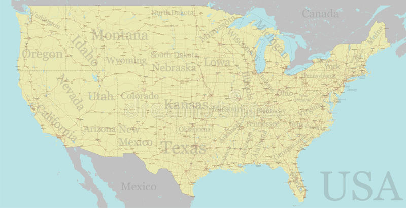 Vector High detailed accurate, exact United States of America, a. Merican road, motorway map with labeling. Geographic pastel administrative. Editable royalty free illustration