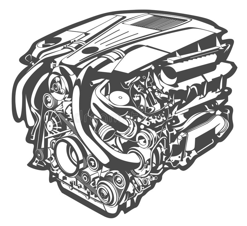 Vector high detailed illustration of abstract engine vector illustration