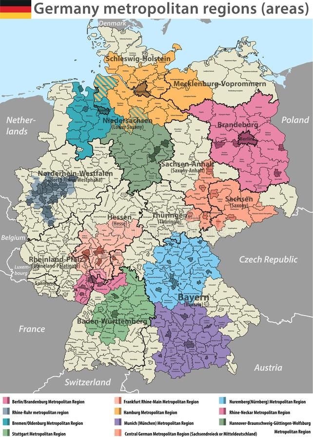 download vector high detailed map of germany metropolitan regions areas stock vector illustration of frankfurt