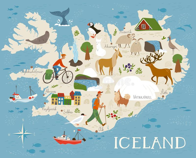 Vector high detailed vector map of Iceland with animals and landscapes. Animals of north. High detailed vector map of Iceland with animals and landscapes. Good royalty free illustration