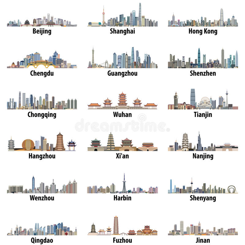 Free Vector High Detailed Set Of Chinese Largest City Skylines Isolated On White Background Stock Photos - 92387223