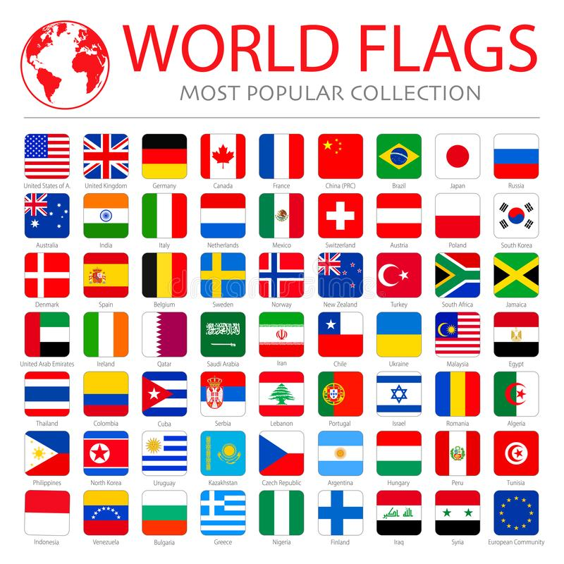 Vector high quality collection set of major world countries royalty free stock photography