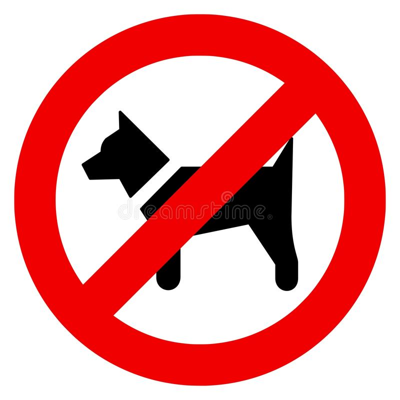 Vector illustrations of the no dogs allowed sign. Vector high quality illustrations of the no dogs allowed sign - black dog inside the red prohibition symbol stock illustration