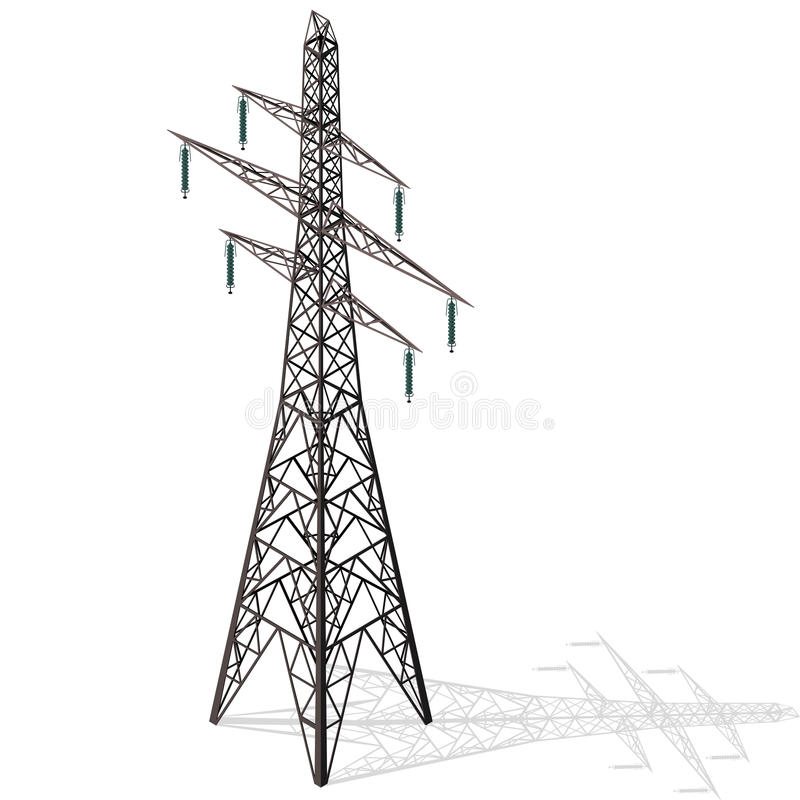 Vector high voltage pylon on white background, isometric 3d perspective. stock illustration