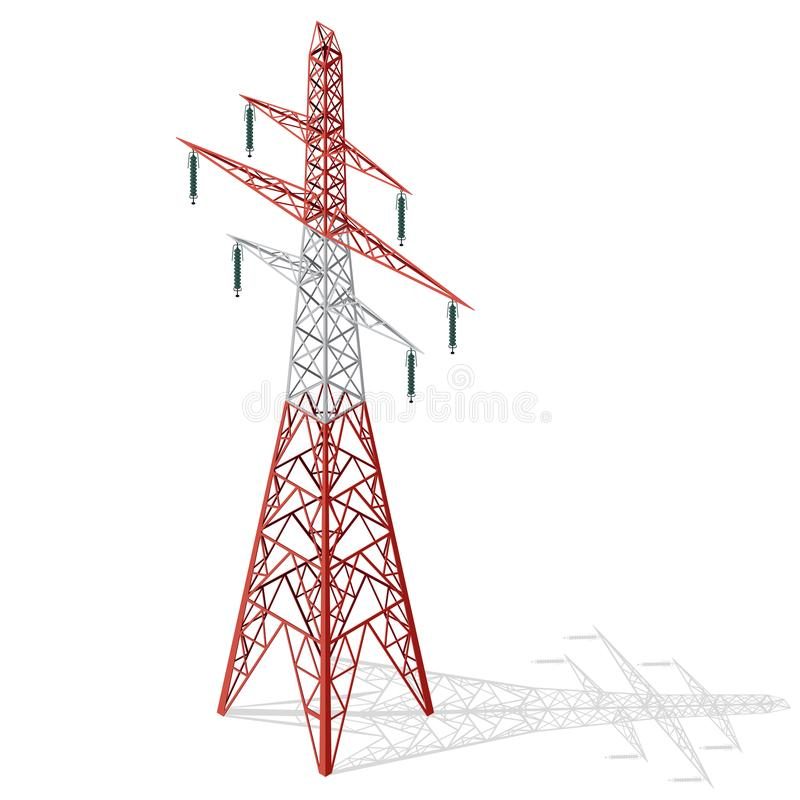 Vector high voltage pylon on white background, isometric 3d perspective. . Red and white metal pole. stock illustration