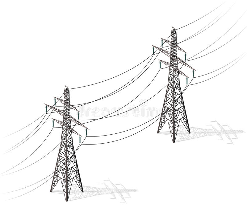 Vector high voltage pylons on white background, isometric 3d perspective. vector illustration