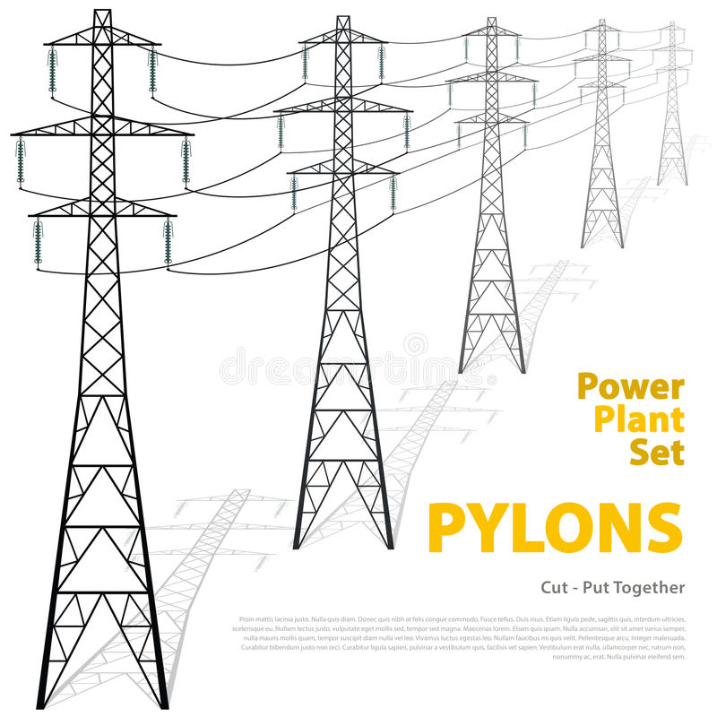 Vector high voltage pylons, white background. power line pylons. vector illustration