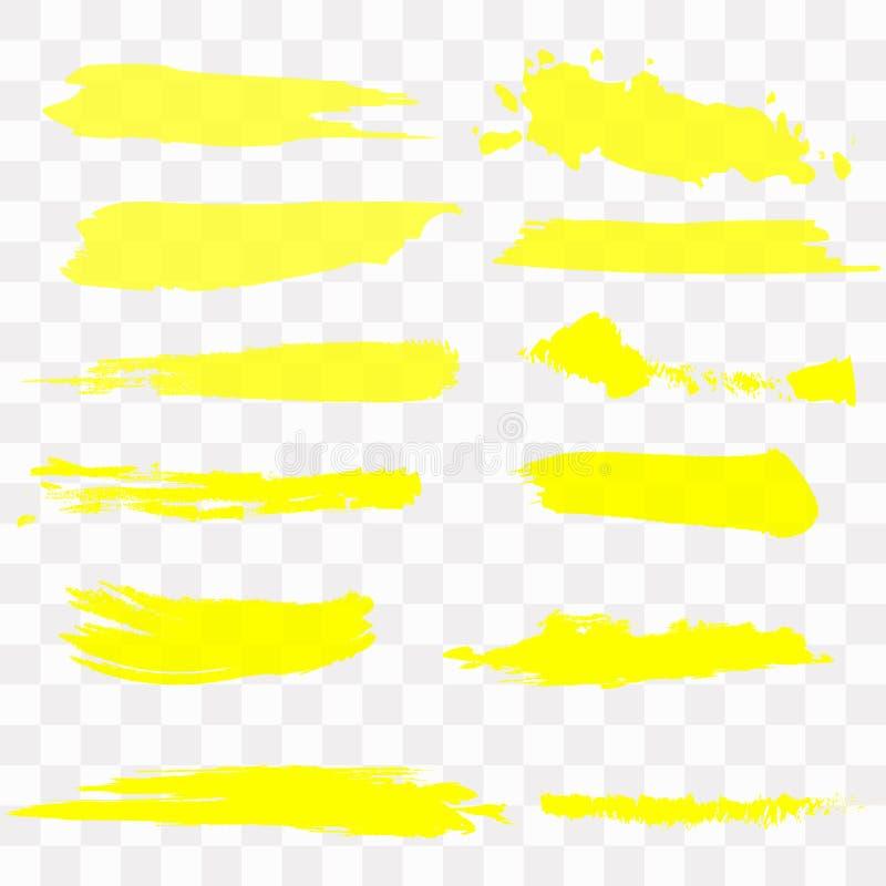 Vector highlighter brush set. Hand drawn yellow highlight marker stripes. Vector highlighter brush set. Hand drawn yellow highlight marker stock illustration