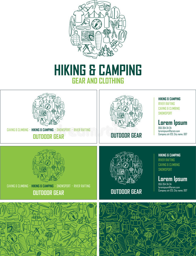 Vector hiking and camping gear visiting card. Business card set with abstract seamless background pattern. stock illustration