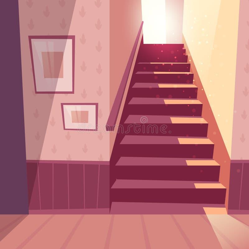 Vector Hintergrund des Treppenhauses, Treppe im Haus stock abbildung