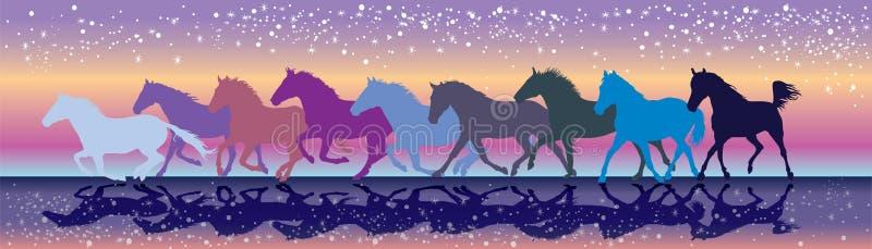 Vector Hintergrund mit den Pferden, die in den Sonnenuntergang galoppieren lizenzfreie abbildung