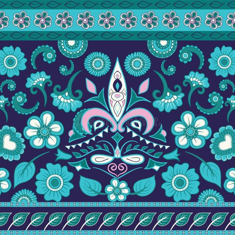 Vector-Hintergrund mit ethnisch indianischem Kalamkari-Ornament. Blumenpaisley-Dekorationsmuster stock abbildung