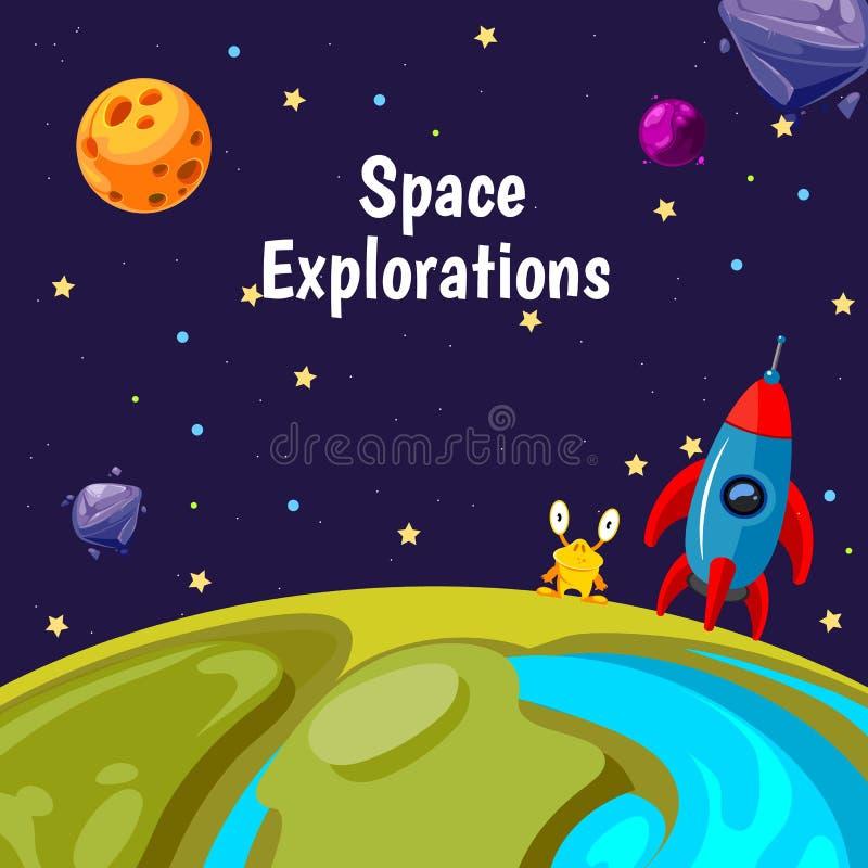 Vector Hintergrund mit Karikaturraumplaneten und -schiffen vektor abbildung