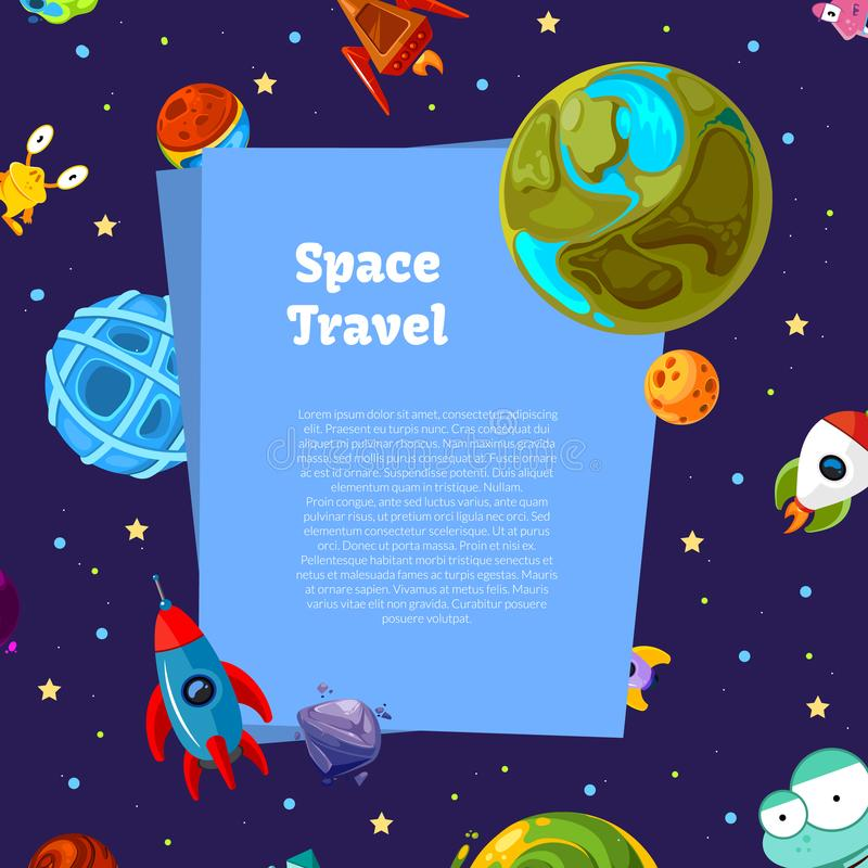 Vector Hintergrund mit Platz für Text mit Karikaturraumplaneten und -schiffen stock abbildung