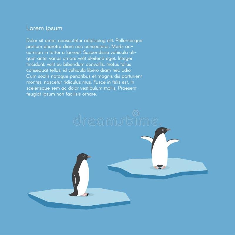 Vector Hintergrund mit zwei Pinguinen, die auf stilisiertem Gletscher stehen vektor abbildung