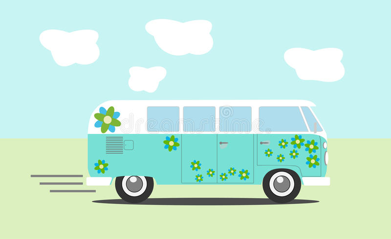 Vector hippie van. Side view royalty free illustration