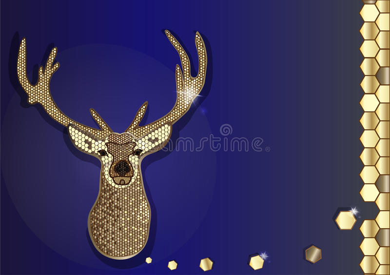 Vector hipster deer modern hexagon design golden honeycomb on blue background. royalty free stock photo