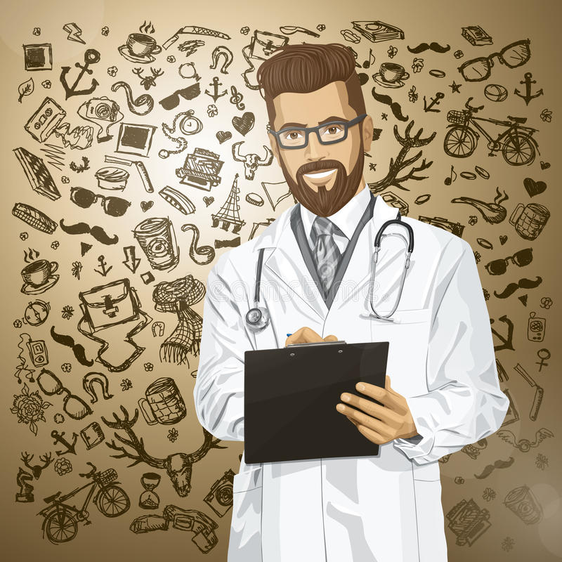Vector Hipster Doctor Man With Clipboard. Vector hipster doctor man writing something with marker on clipboard stock illustration