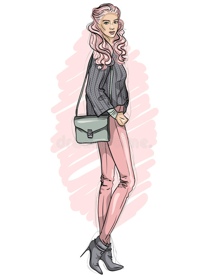 Vector hipster girl dressed in jeans, sweater, ankle boots with bag over her shoulder, color sketch stock illustration