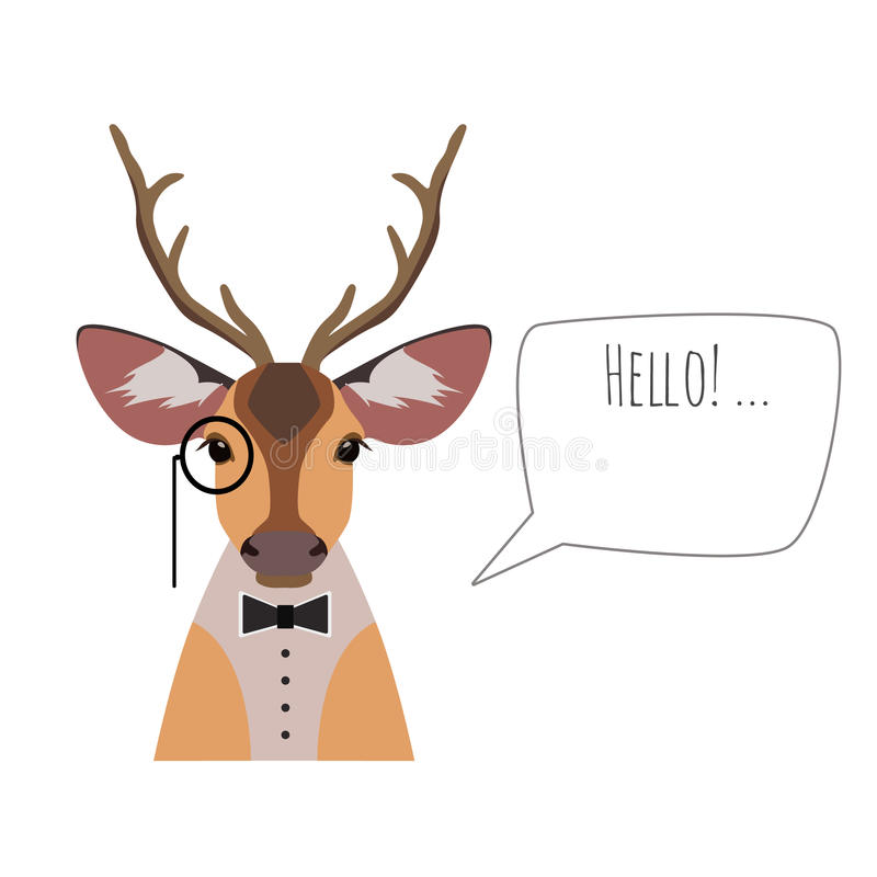 Vector hipster horned deer in suit, bowtie monocle saying hello. Vector hipster horned deer in suit and bowtie with monocle saying hello isolated. Object for vector illustration