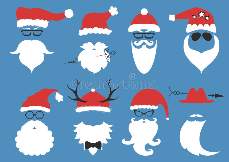Vector hipster Santa Claus. Silhouette with cool beard royalty free illustration