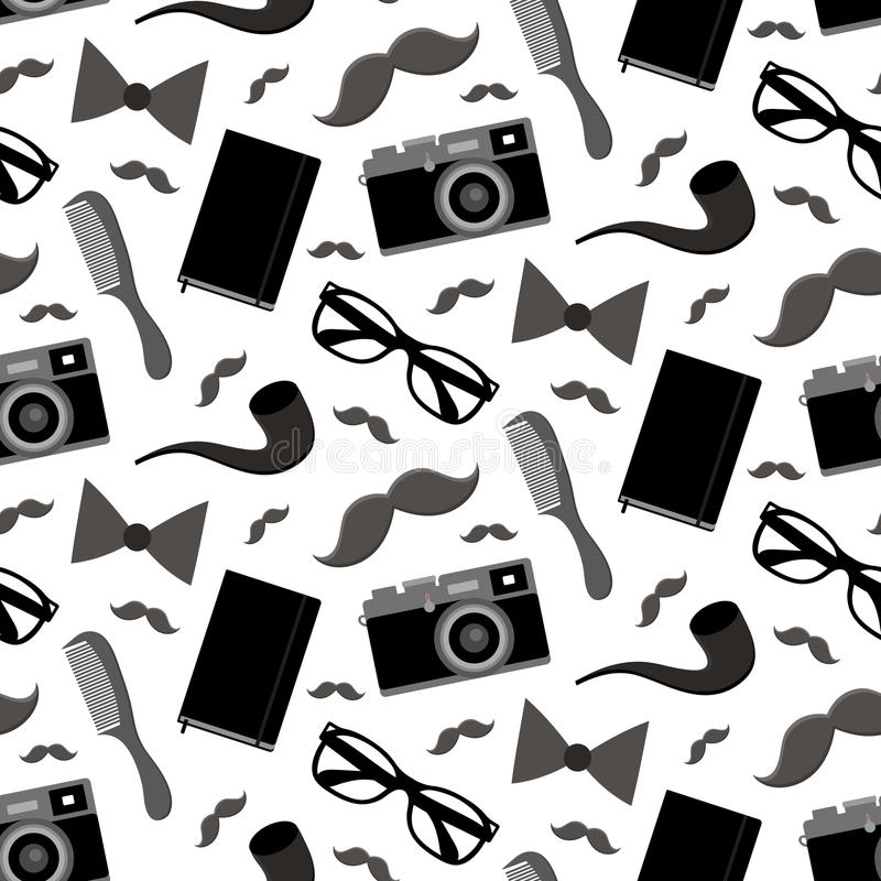 Vector hipster seamless pattern with fashion sunglasses, vintage camera, tobacco pipe and mustache in trendy flat style royalty free illustration