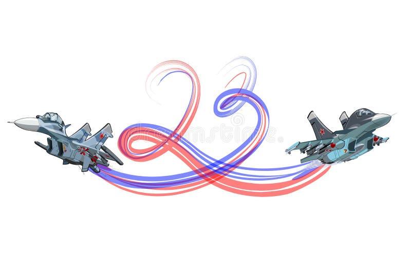 Vector historieta tarjeta día de fiesta del 23 de febrero ilustración del vector