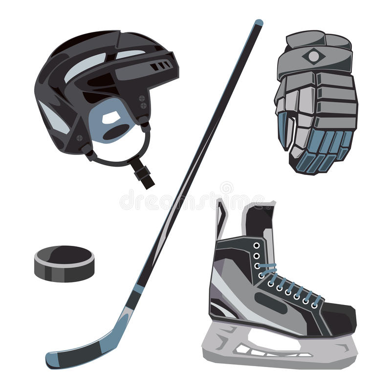 Vector hockey icons set in flat style. Ice equipment collection, puck, stick etc. Sport gear images for clubs etc. vector illustration