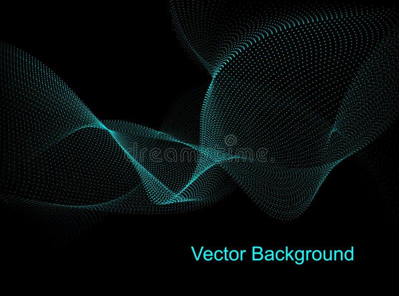 Vector hoge samenvatting - technologieachtergrond Blauwe deeltjesgolven royalty-vrije stock afbeelding